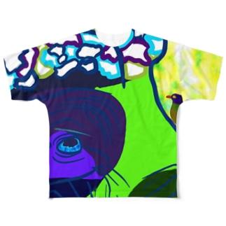 水牛とアカハシウシツツキ Full graphic T-shirts