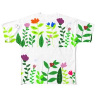 もっと 横長ボタニカルとチョウ Full graphic T-shirts