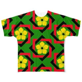 サイケ家紋 Series「四色組み合わせ角に桔梗」 Full graphic T-shirts