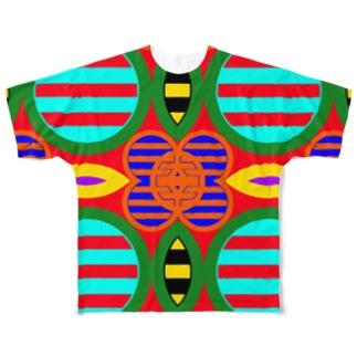 サイケ家紋 Series「七色丸の内に三つ引」 Full graphic T-shirts
