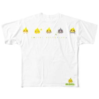 丸オカメインコ ヒヨコ型 1頭身 横並び Full graphic T-shirts