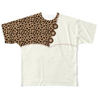 ヒョウ柄ツートンカラー Full graphic T-shirts