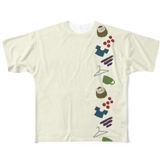 秋色はりねずみ Full graphic T-shirts