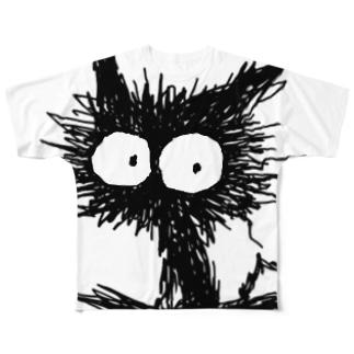 黒くてガビガビした毛の子猫 Full graphic T-shirts