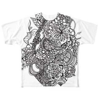 psychedelic flower Full graphic T-shirts