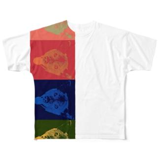 チャタロウ4連1段 縦 Full graphic T-shirts