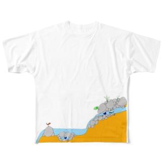 流水産卵性サンショウウオ Full graphic T-shirts