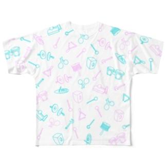 パーカッション(総柄) Full graphic T-shirts
