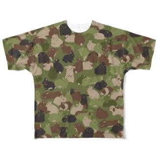 大賀一五の店のうさぎの迷彩 Full graphic T-shirts