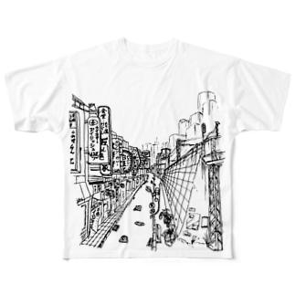 まちなみ2 Full graphic T-shirts