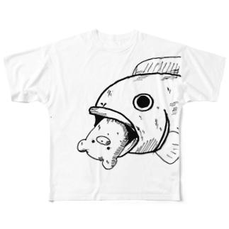 喰われたくま Full graphic T-shirts