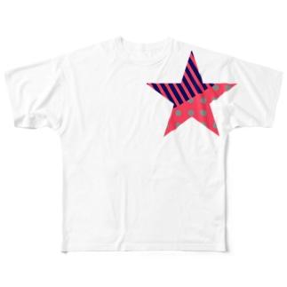ドット&ストライプ(星)両面プリントTシャツ Full graphic T-shirts