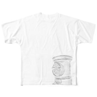 背中で語る レトロ ポスト Full graphic T-shirts