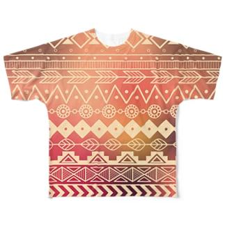 ネイティブ柄B Full graphic T-shirts