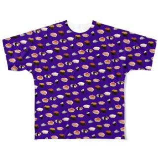 【飯テロ】お寿司総柄(特上) Full graphic T-shirts