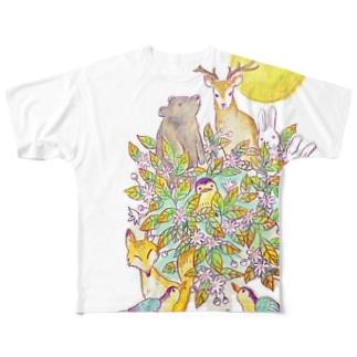 満月の夜〜一枚の葉〜 Full graphic T-shirts