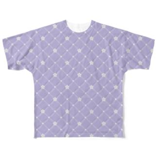 パールとキルティング柄 パープル Full graphic T-shirts