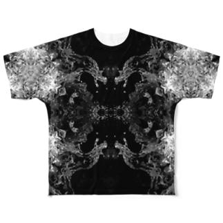 白黒波しぶき幾何学模様04 Full graphic T-shirts