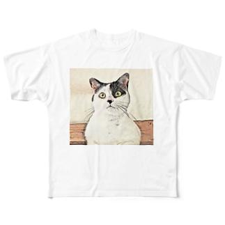 鼻ブチ猫ちゃんスケッチ風 Full graphic T-shirts