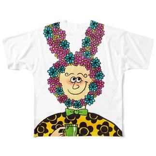 flower rabbit Full graphic T-shirts