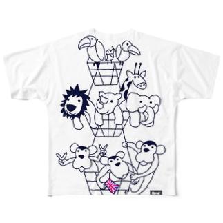 動物バスケット(codycoby) Full graphic T-shirts