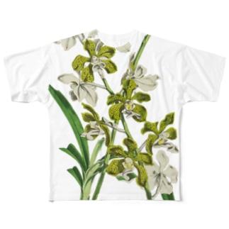 洋ラン<ボタニカルアート> Full graphic T-shirts