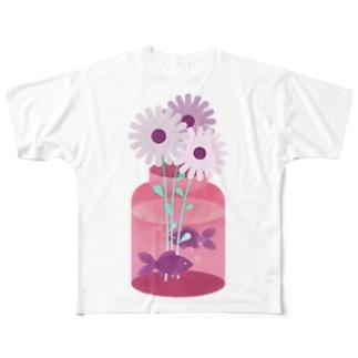 SPRING : 花と金魚 Tシャツ Full graphic T-shirts