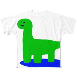 にこにこゆるきょうりゅう② Full graphic T-shirts