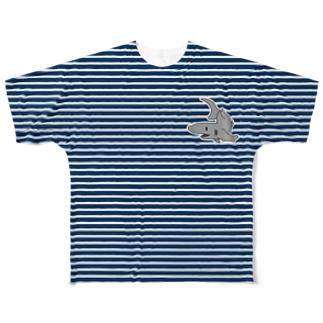 ボーダーサメ Full graphic T-shirts