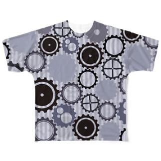 モノクロの歯車模様 Full graphic T-shirts