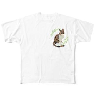 三毛猫 ミャオ バックプリントバージョン 胸元にも小さく Full graphic T-shirts