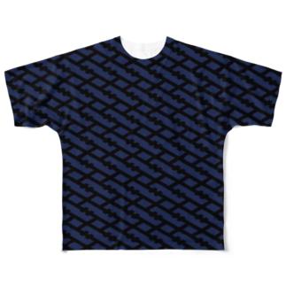 IOST[S]格子 BK/DB Full graphic T-shirts