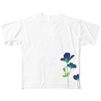 青い花 Full graphic T-shirts