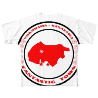 YOKOHAMA KANAZAWA FANTASTIC TOWN(白) Full graphic T-shirts