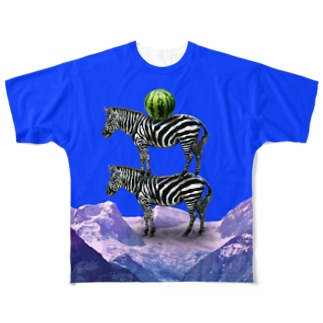 シマウマとスイカ Full graphic T-shirts