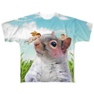 リスとエンジェル Full graphic T-shirts