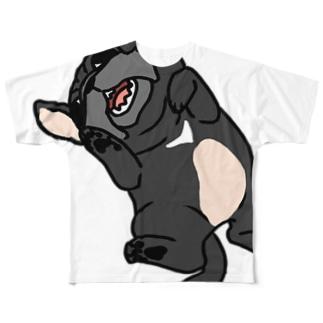 パグ(黒)Tシャツ Full graphic T-shirts