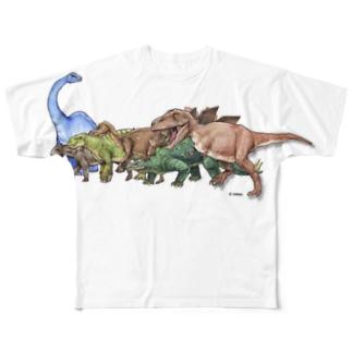 恐竜シリーズ1(集合) Full graphic T-shirts