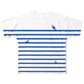 サメサメボーダー |  Blue | Full graphic T-shirts