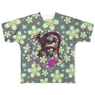 月光装身具ロゴコミカル花柄 Full graphic T-shirts