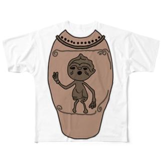 人体文様付き有孔鍔付土器 Full graphic T-shirts
