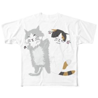 ネコの昼寝(背景なし) Full graphic T-shirts