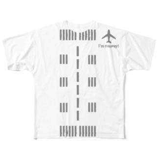 滑走路Tシャツグレー Full graphic T-shirts