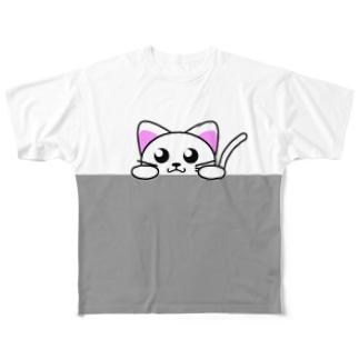覗き見にゃんこ Full graphic T-shirts