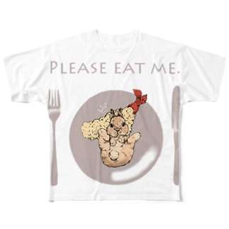えび天×うさぎ Full graphic T-shirts