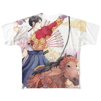 流鏑馬女子 Full graphic T-shirts