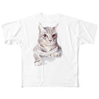 そんなにみつめないで!ドキドキしちゃうから♪かわいい猫のイラスト Full graphic T-shirts