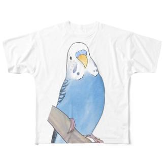 セキセイインコちゃんと止まり木【まめるりはことり】 Full graphic T-shirts