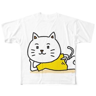 ねころがるねこ Full graphic T-shirts