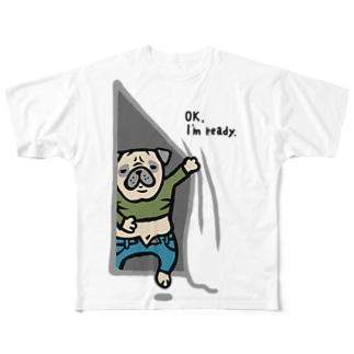 気にしないパグさん☆ Full graphic T-shirts